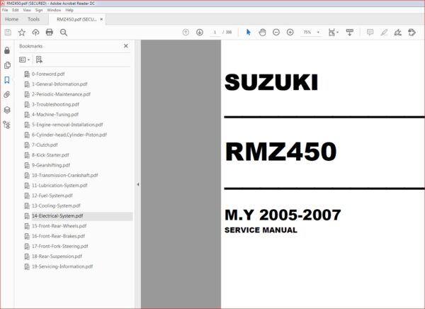 2005 2007 Suzuki Rm Z450 Service Manual Rmz450 Rmz 450 Pdf Download Manual Repair Manuals Suzuki