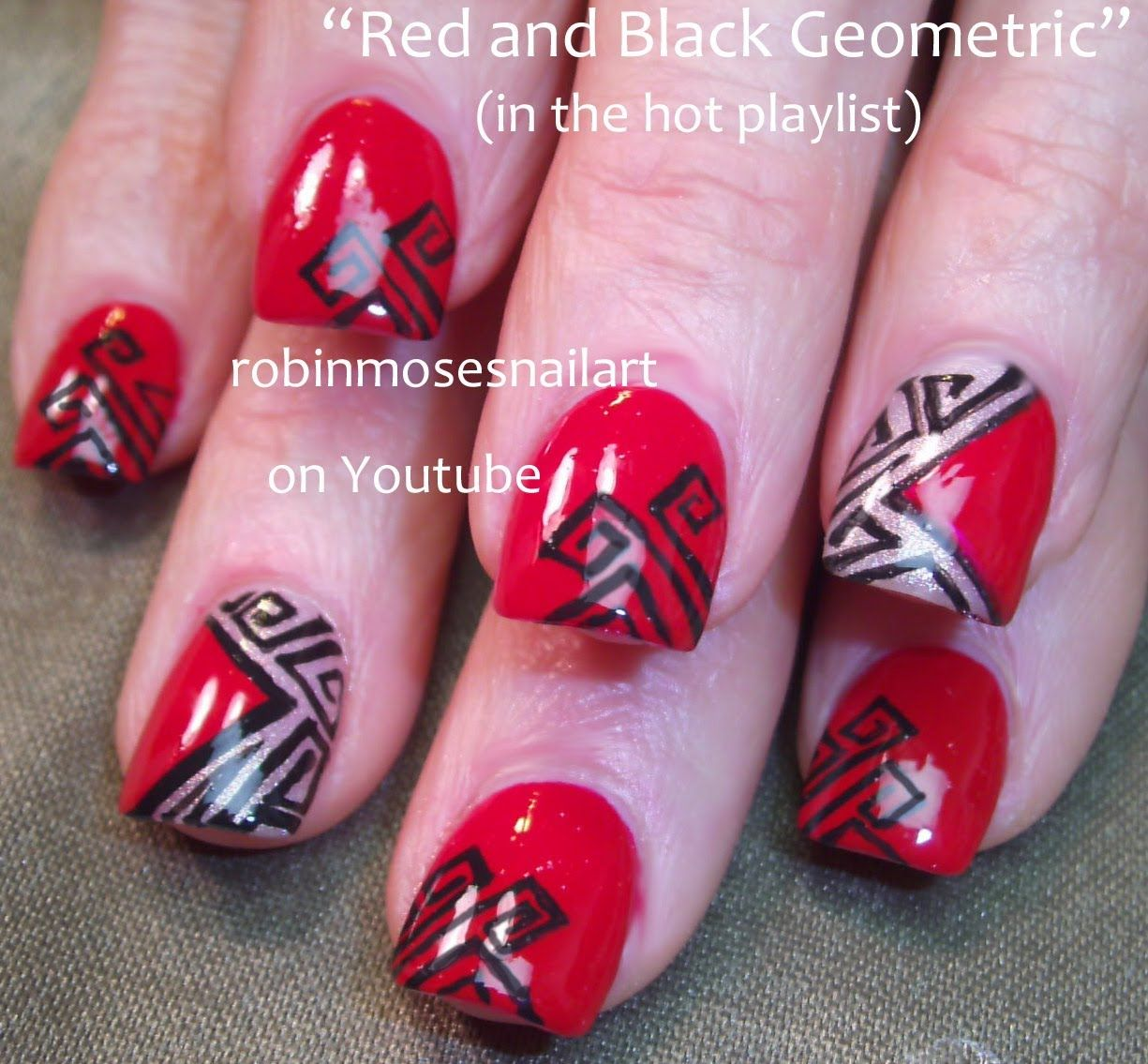 3 Nail Art Tutorials | DIY Red and Black Geometric cut out Design ...