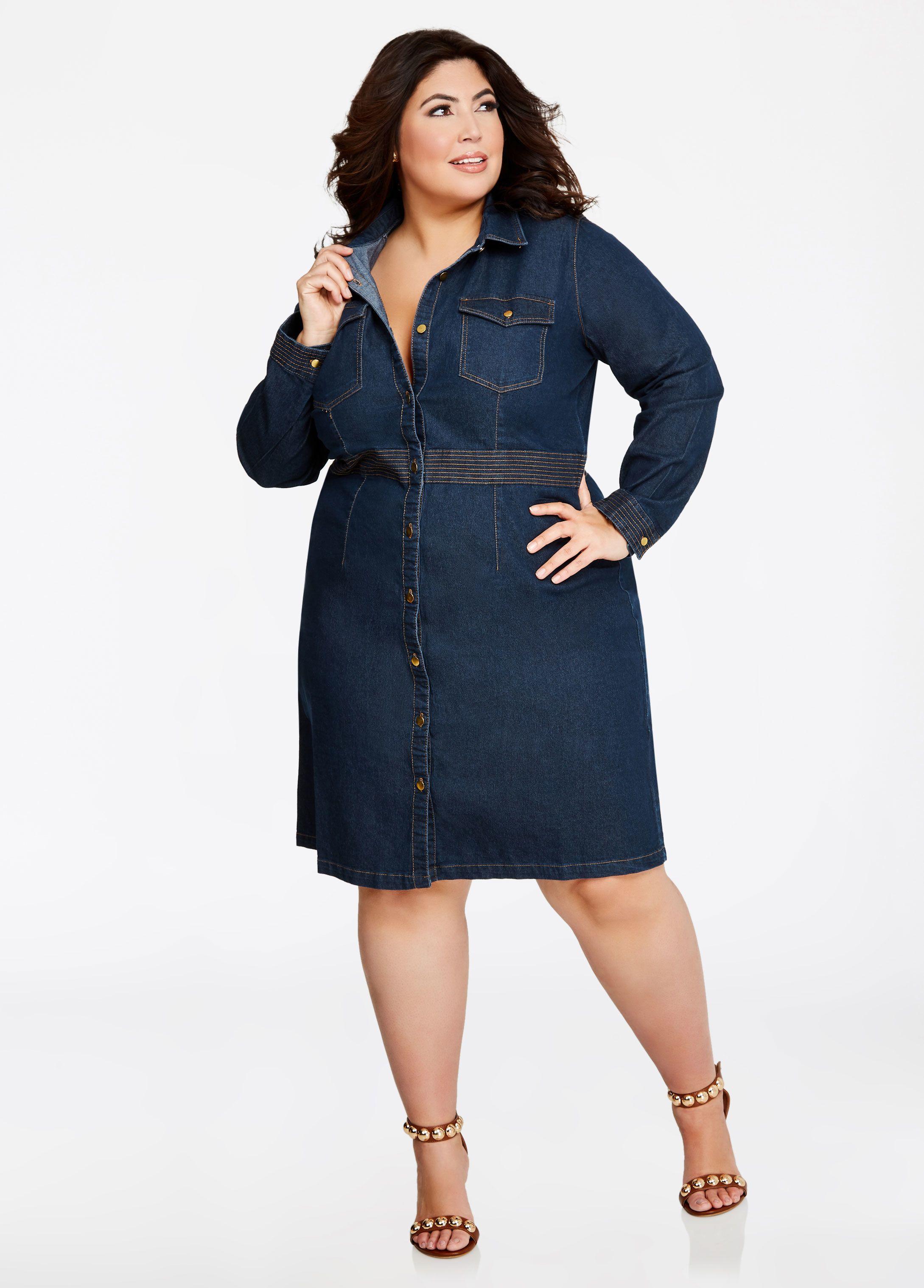 7dafc71bb0c Stitch Waist Denim Button Dress - Ashley Stewart