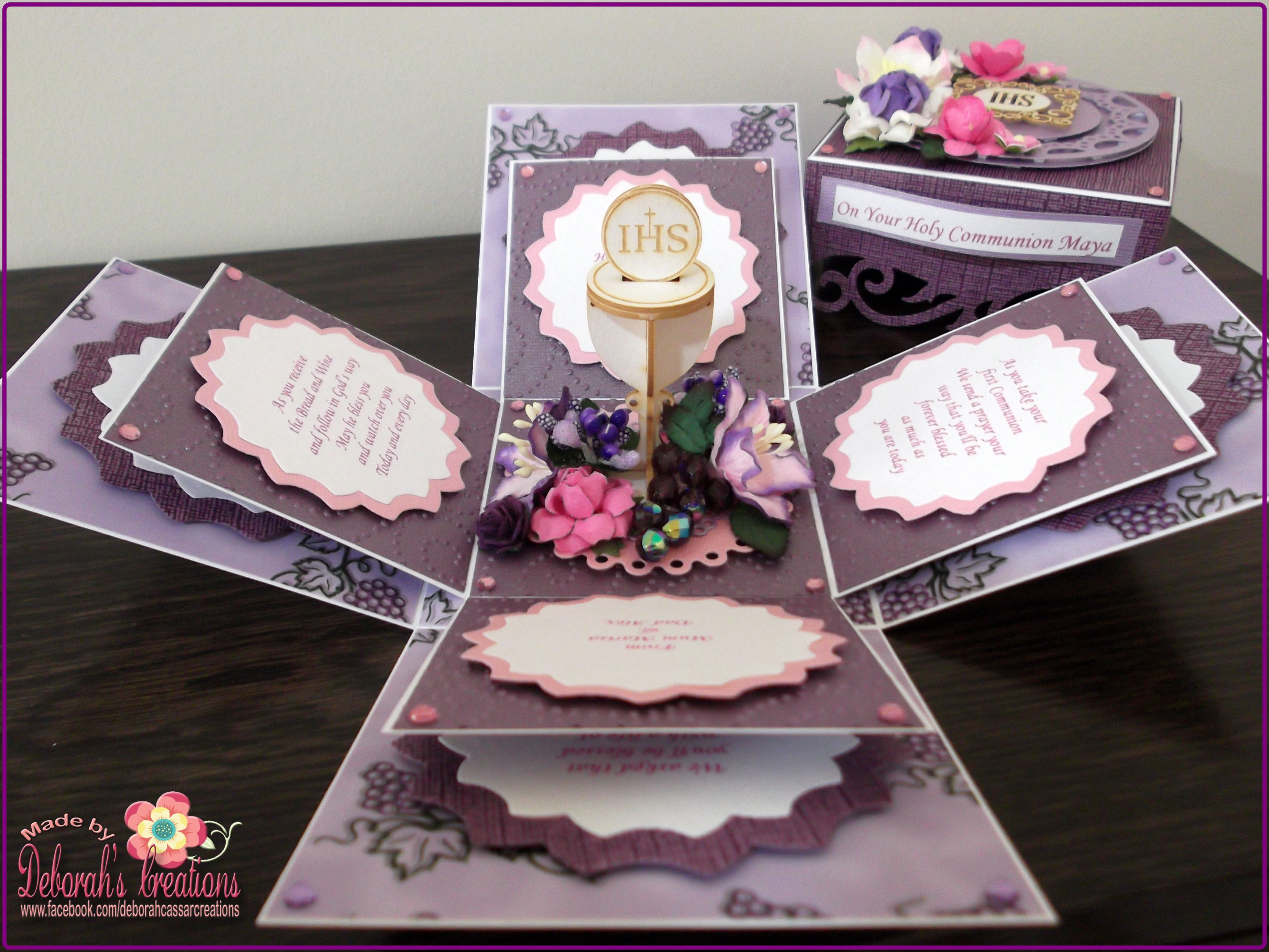 Holy Communion Exploding Box Card With Chalice And Purple Theme