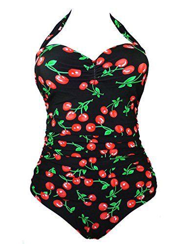 91f0b5fb9c Cocoship Black Plus Size 50s Retro Flattering Cherry Print Vintage One  Piece Swimsuit Swimwear 20(