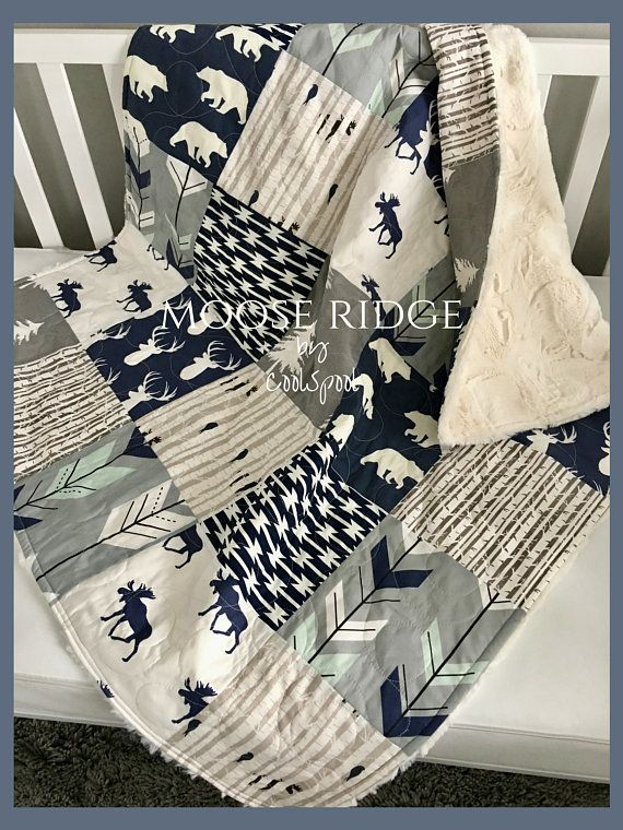 Baby Boy Quilt, Navy Blue Crib Bedding, Gray Crib Bedding