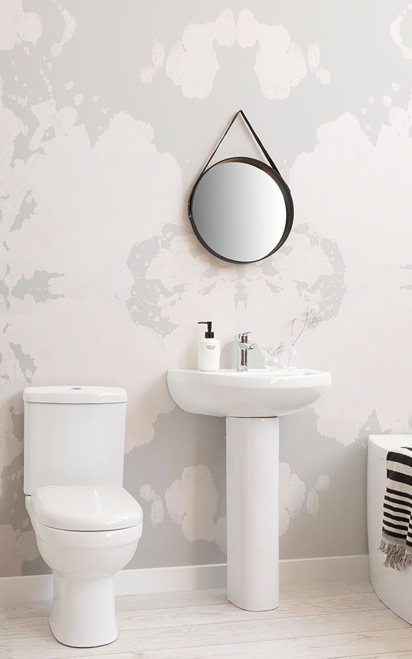 Create A Clean And Modern Bathroom Space With Modern White Bathroom Wallpapers And Murals Adding Texture Eff Bathroom Wallpaper New Bathroom Ideas Wall Murals Modern wallpaper for bathrooms 10
