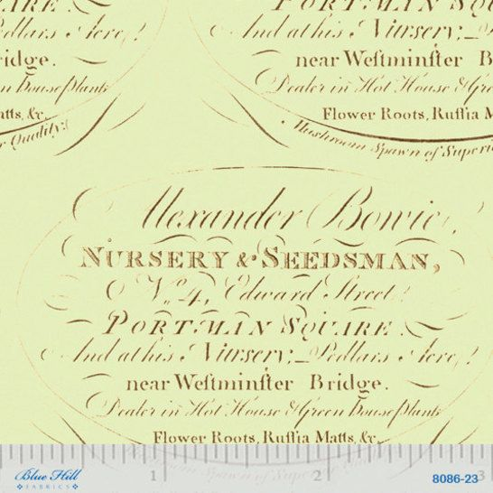 Antique Seed Labels Fabric -designed by Paula Scaletta for Blue Hill Fabrics 8086-23 Green - 1/2 yard