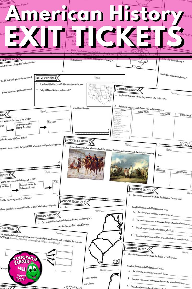 American History Exit Ticket Bundle Us Geography Westward Movement Us Geography American History Middle School History