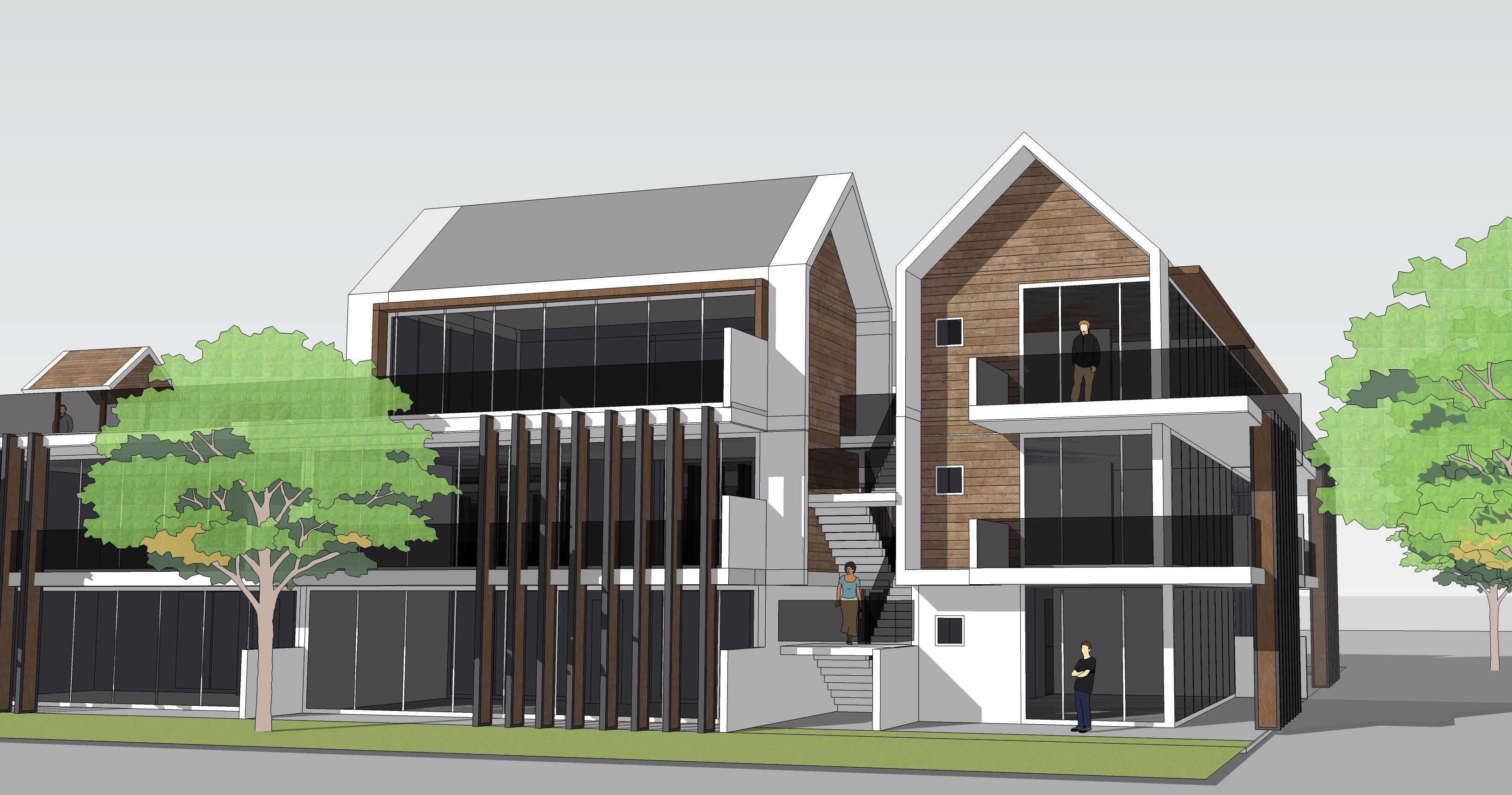 Modern Architecture Apartment Sketchup Modelling Landscape Design