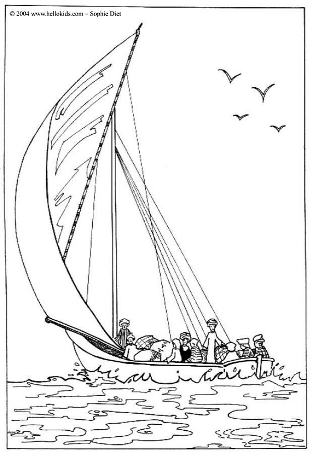 egyptian boat coloring page