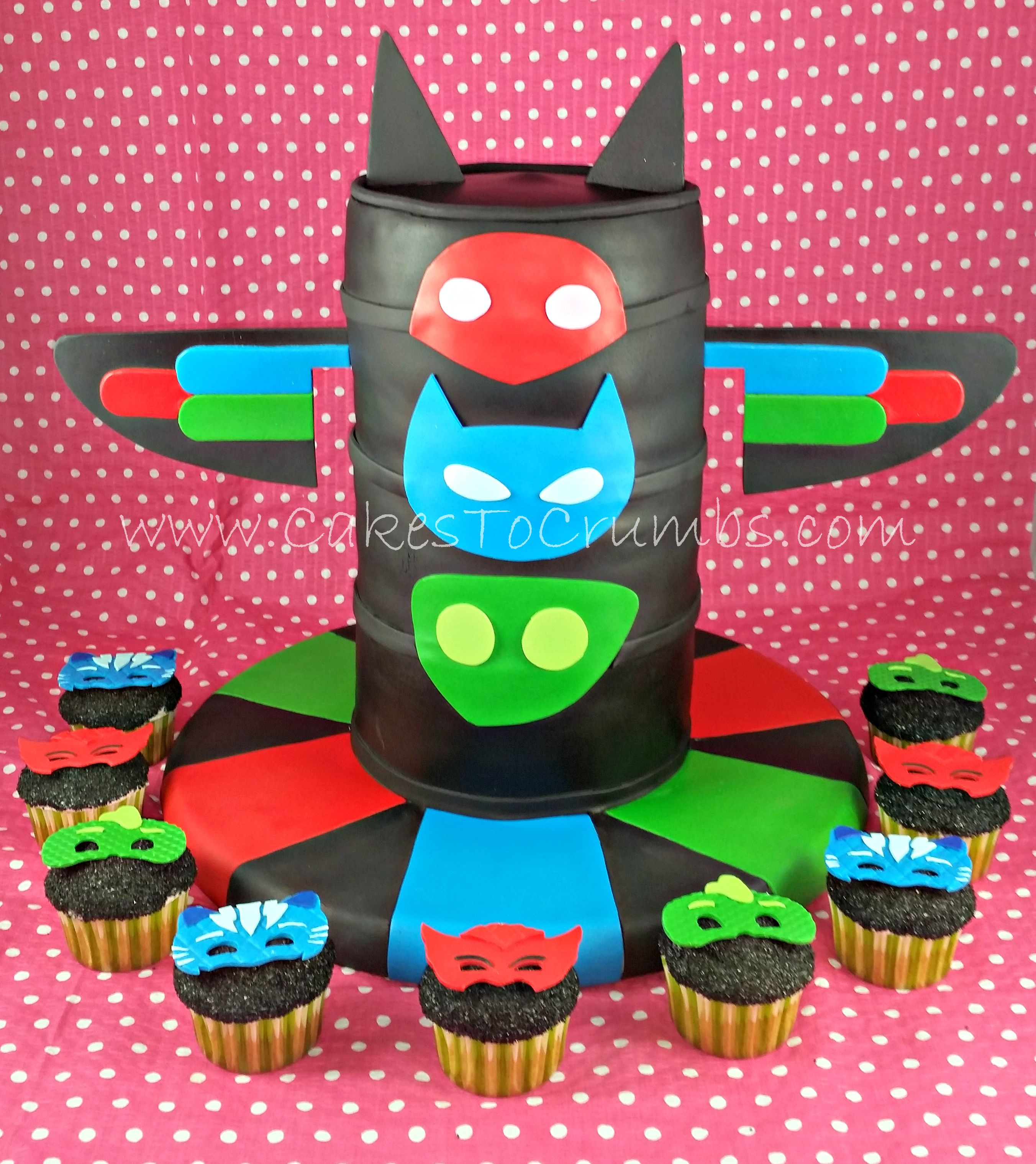 Pj Masks Tower Cake And Mask Cupcakes Cakes 2016 In 2019