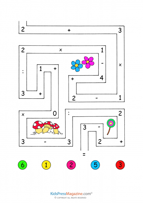 Crossword Puzzles for Kids 3 – Math Maze Worksheet