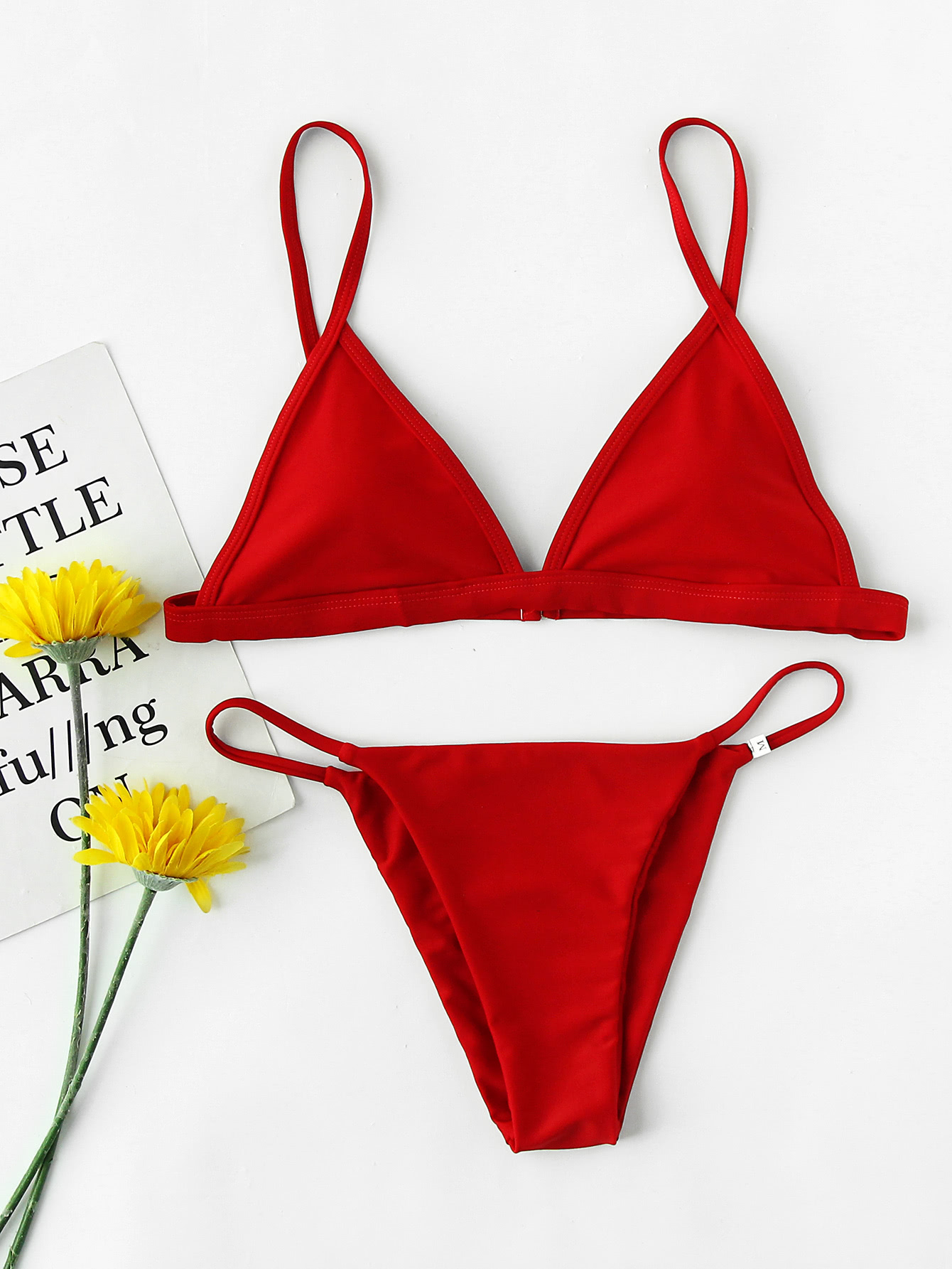d68c6bf16c Triangle Beach Bikini Set. Red Bikinis Casual Vacation Triangle Polyamide  NO Swimwear.