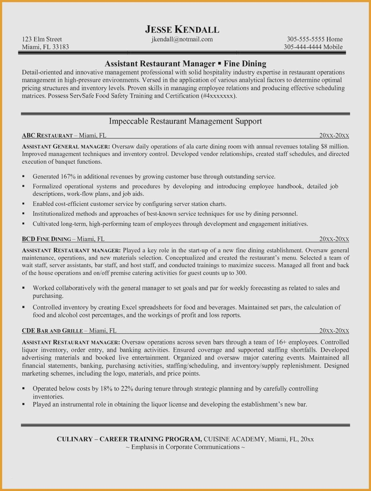 68 Best Of Photos Of Sample Resume Restaurant Manager Fine