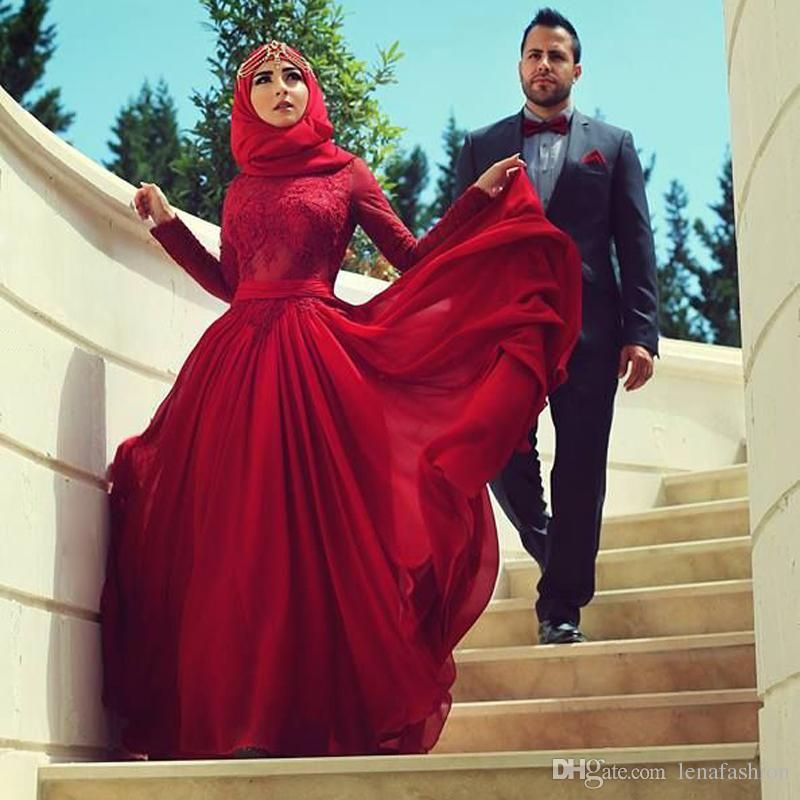 2016 Designer Red A-line Long Sleeve Lace Applique Arabic Evening ...