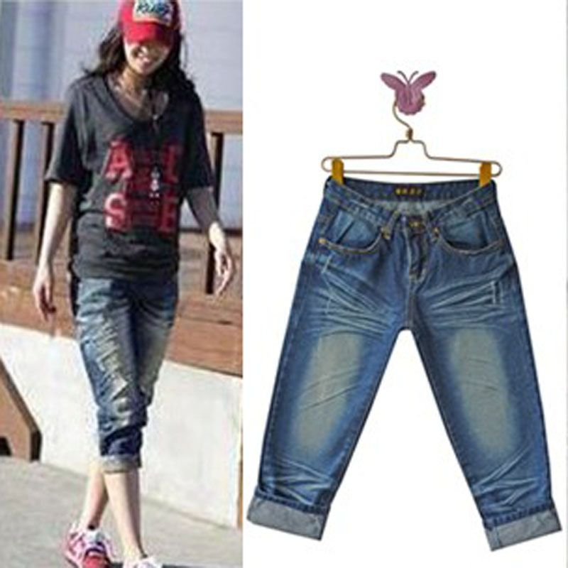 Lovers outfit womens fold jeans capri pants both men and women ...