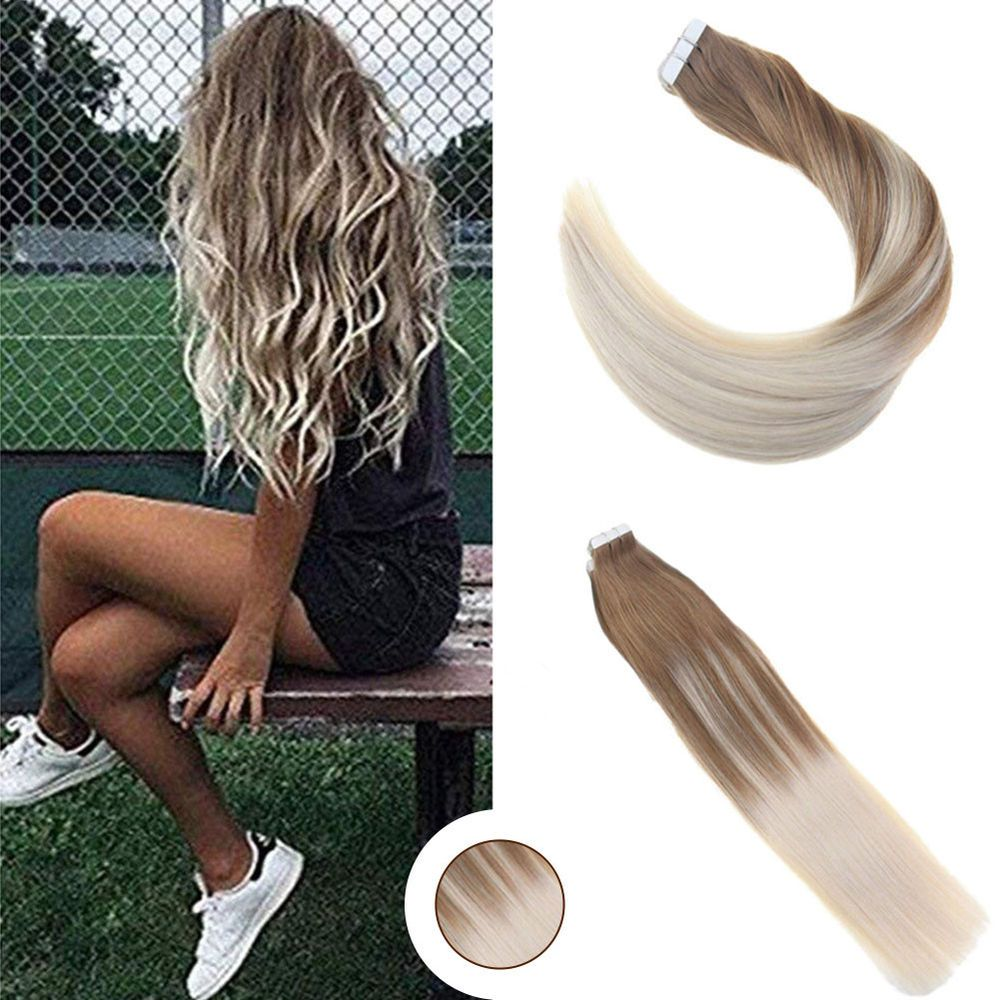 5Pcs 16 Tape in Remy Human Hair Extensions Medium Brown to White Blonde #Ugea #Balayage #humanhairextensions