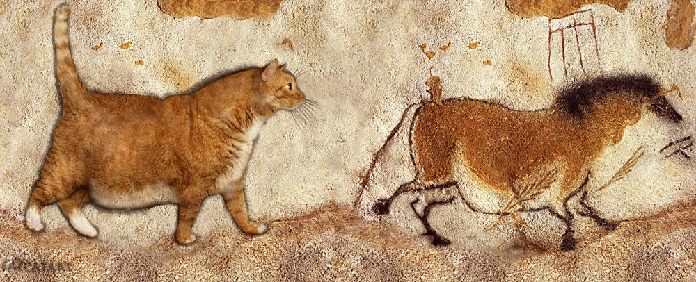 "Prehistoric cave painting: ""Fat Cat and Fat Horse"". Description from fatcatart.com. I searched for this on bing.com/images"