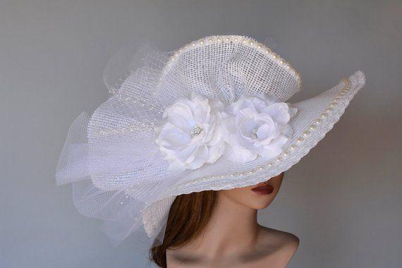 2c11a99d Wedding Hat Head Piece Kentucky Derby Hat Church Hat Off White Coctail Hat  Couture Fascinator Brida