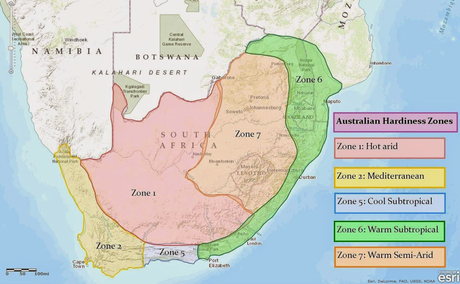 south africa map climate