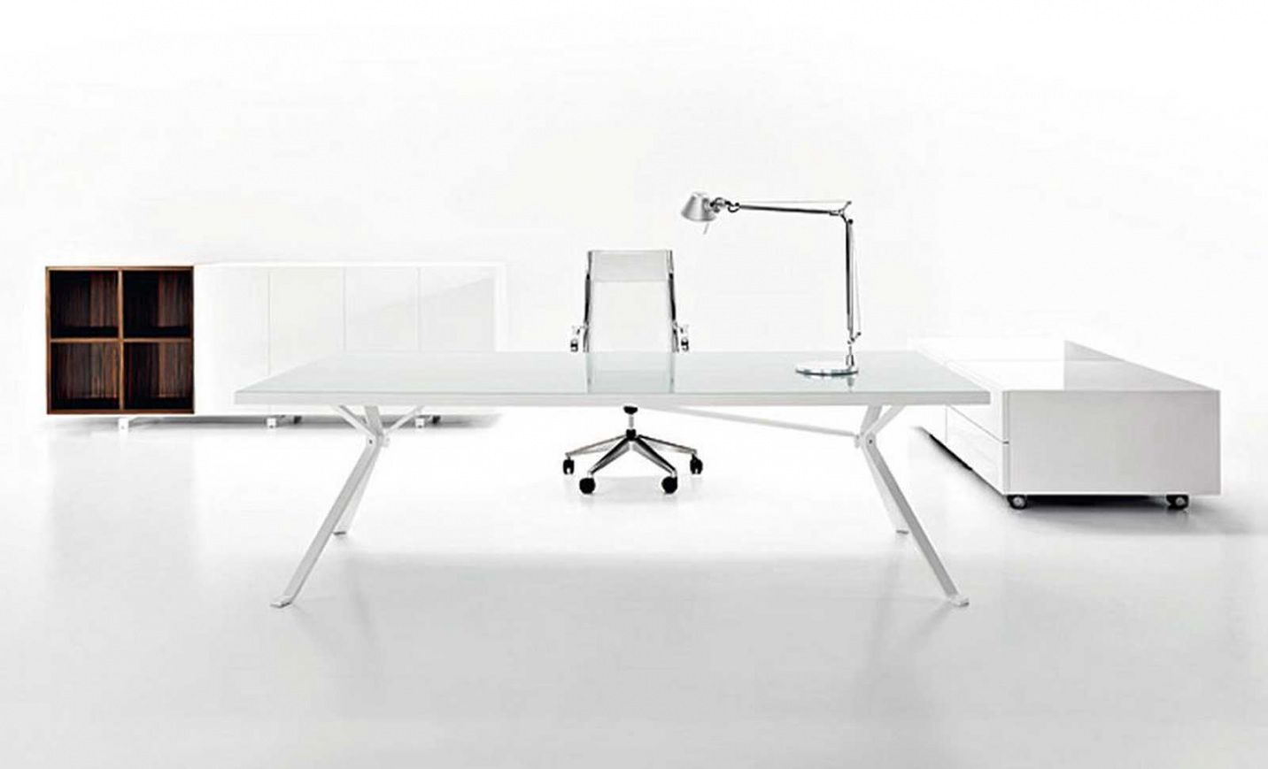 White High Gloss Office Desk - Executive Home Office Furniture Check ...