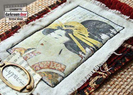 Image transfer using Darkroom Door 'Kimono' Photochips. Project by Teresa Abajo