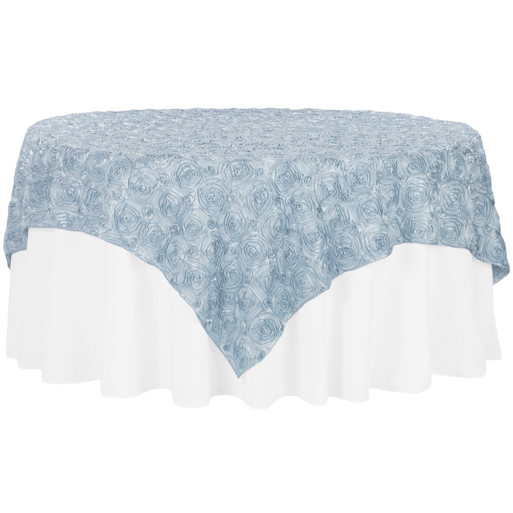 """Rosette Satin Table Overlay Topper 85""""x85"""" Dusty Blue"""