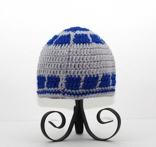 R2D2 Hat, Gray Blue Crochet Star Wars Beanie, send size Baby - Adult ...