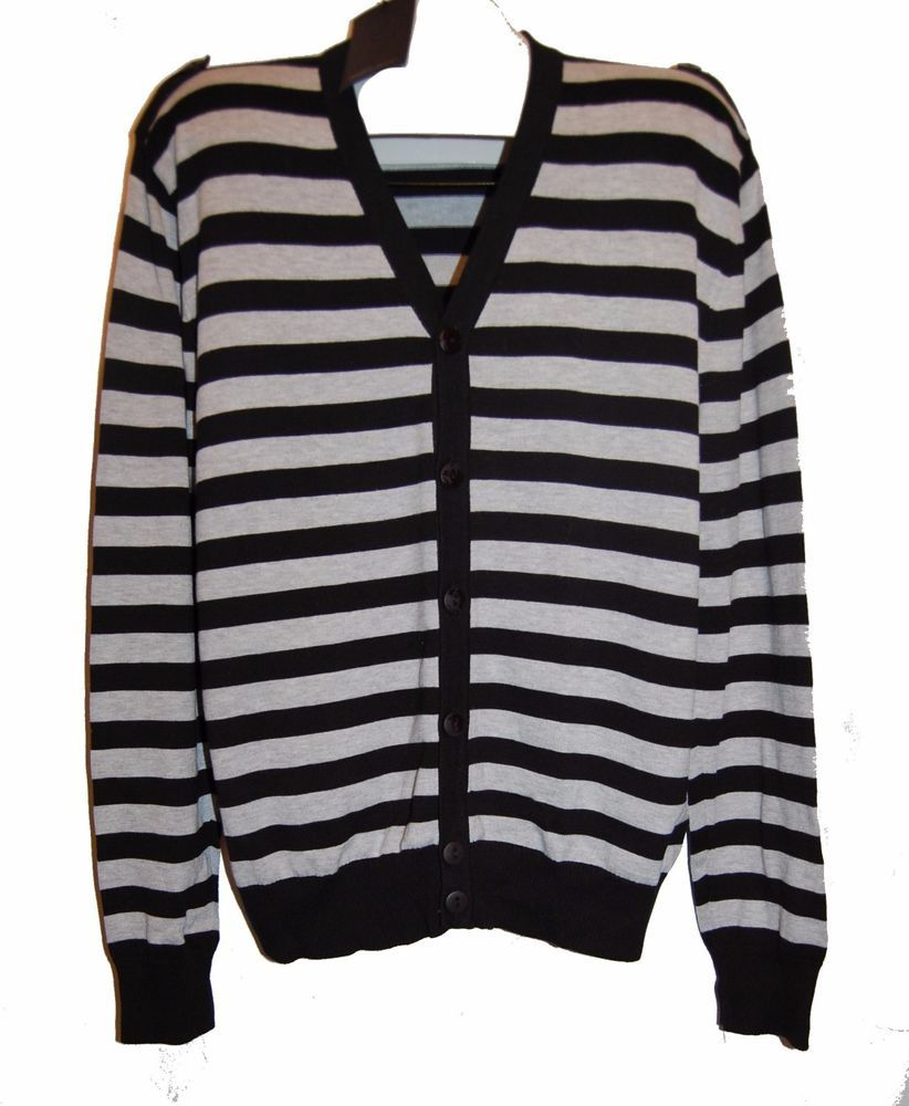 Pacific Blue Black Gray Striped Knitted Men's Cardigan Sweater ...