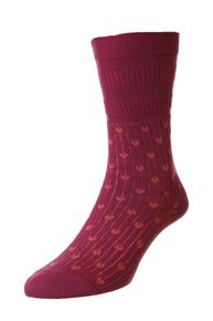 Hearts women's elastic free soft-top crew socks in raspberry | Made by HJ Hall
