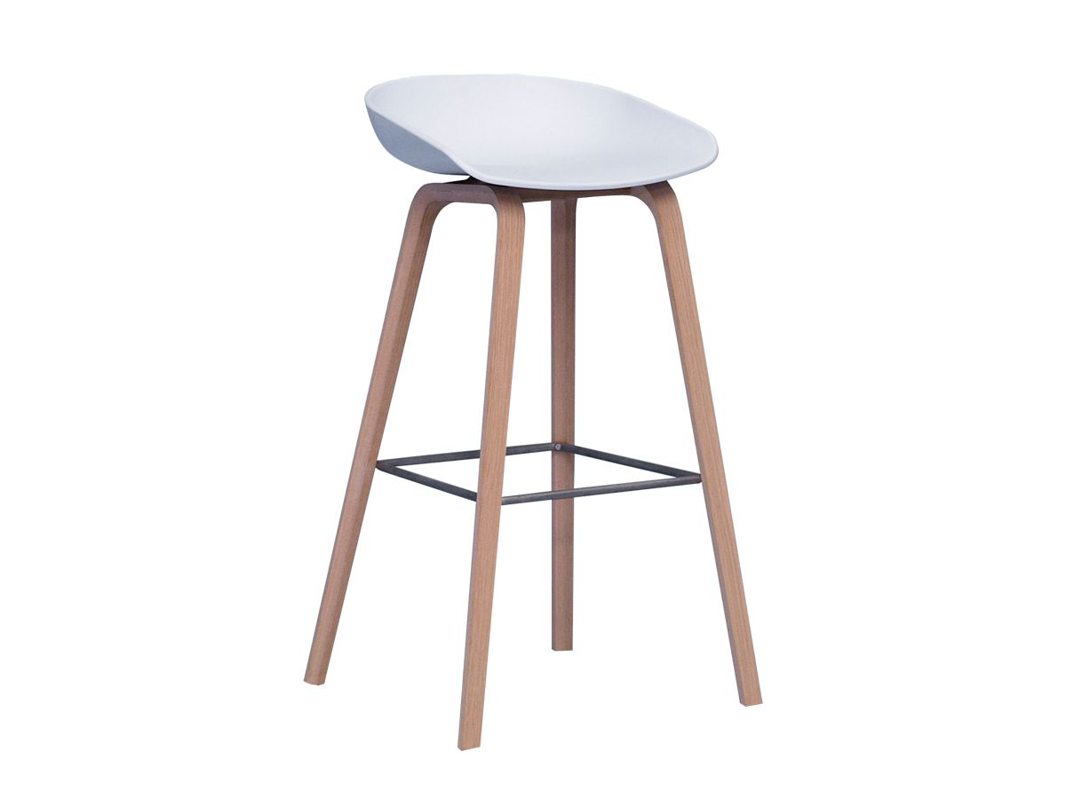 Hay about a stool aas wooden base