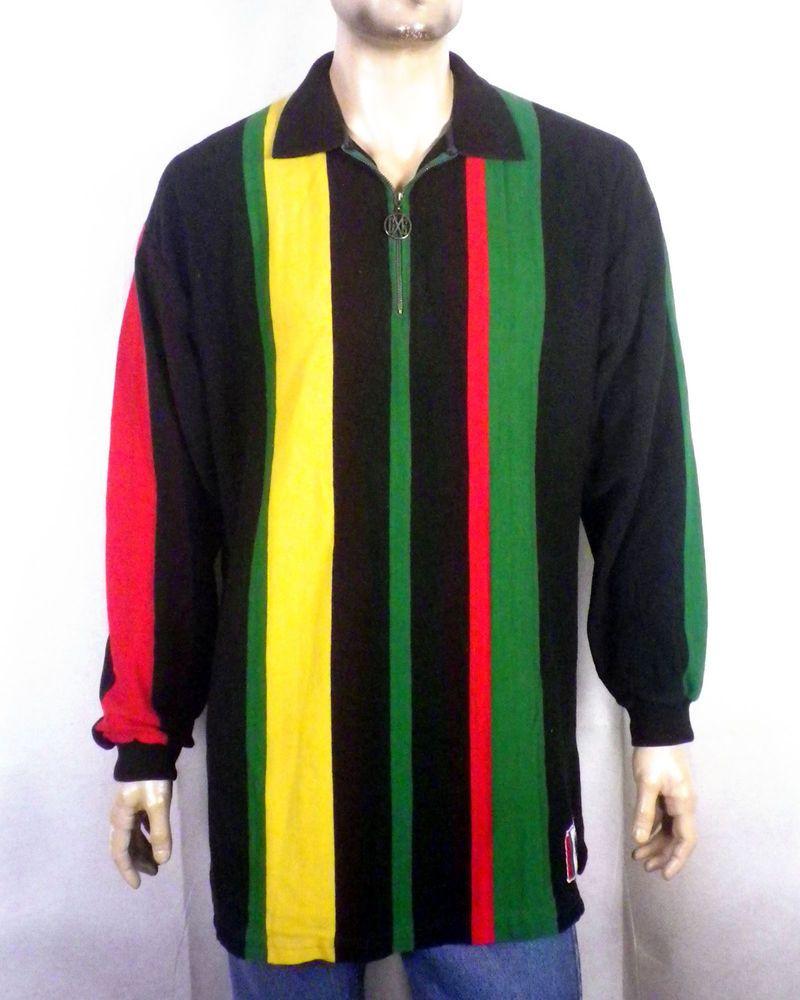 95610384e0 vtg 80s 90s RARE Cross Colours Zip Collar Colorblock Shirt Hip Hop Nation  Rap OS