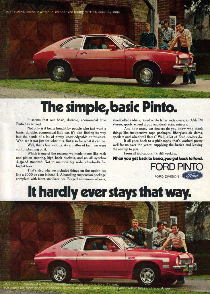 """Ad showing the """"versatility"""" of the '73 Pinto, lol."""