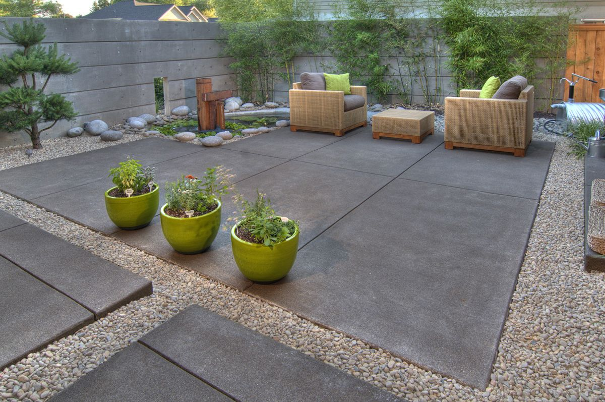 While Contemporay This Backyard Patio Is Low Water Low