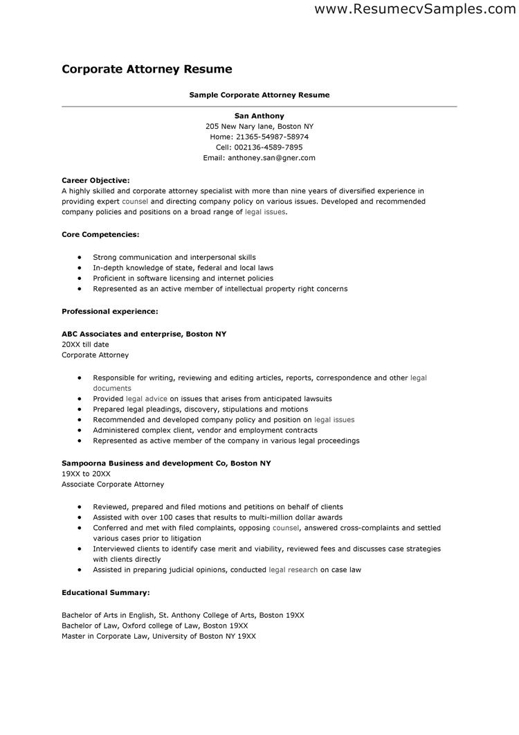 Good Resume Creative Corporate Attorney And Career Objective Plus Lawyer Example  Download Sample Gallery