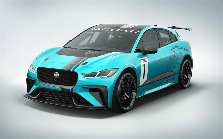 Download wallpapers 4k, Jaguar I-PACE eTROPHY, 2018 cars, racecars, blue I-PACE, Jaguar
