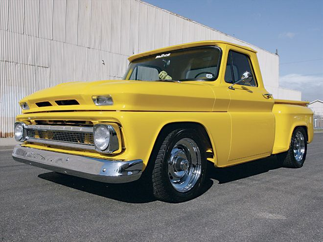 A 1966 Chevy Pickup fully customized with Edelbrock