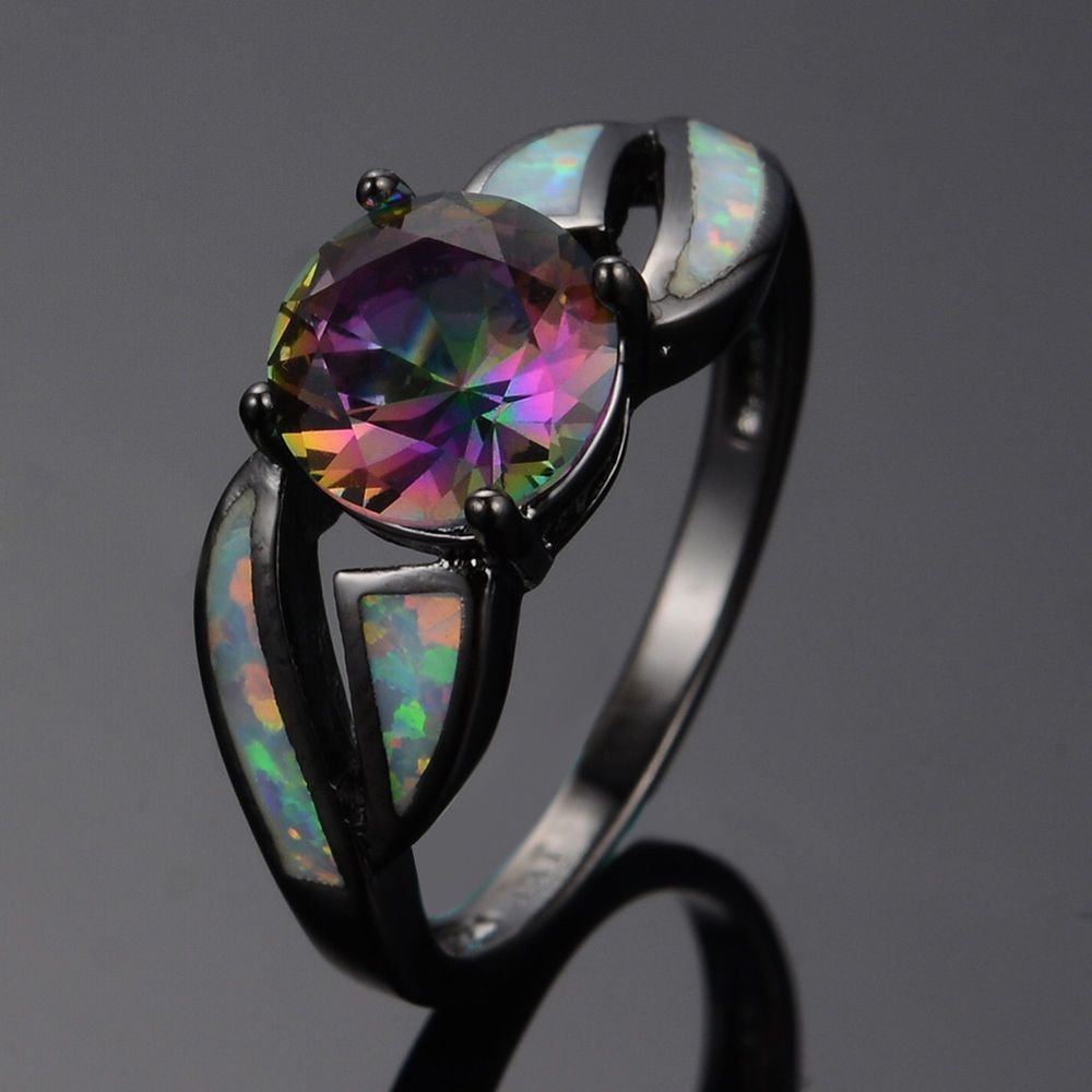 Rainbow Mystic Topaz Fire Opal Wedding Band Women's 10k Black Gold Filled  Ring