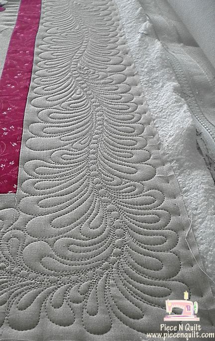 Feathers border quilting by Natalia Bonner at Piece N Quilt Exemplary Quilting Pinterest ...