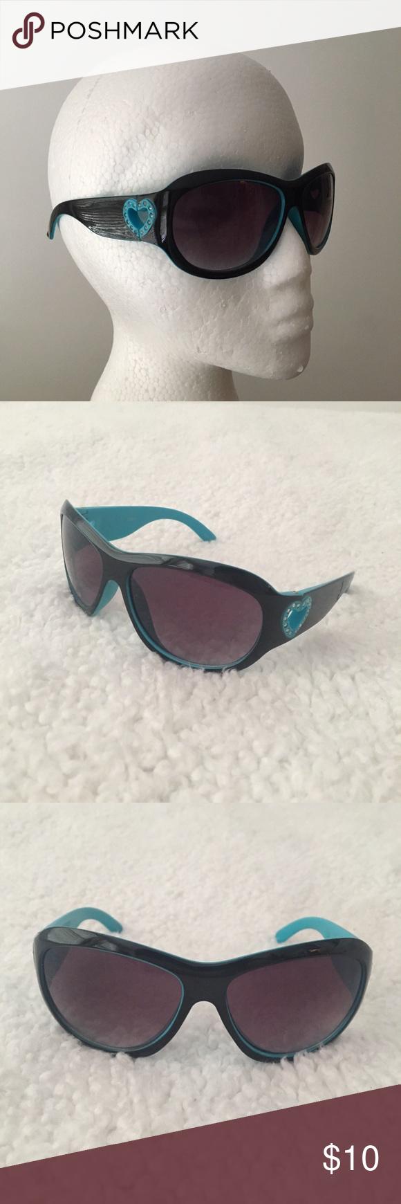 661044c876cf Vintage 2000s black heart sunglasses Vintage 2000s heart sunglasses with  light blue trim 💙🏁 These