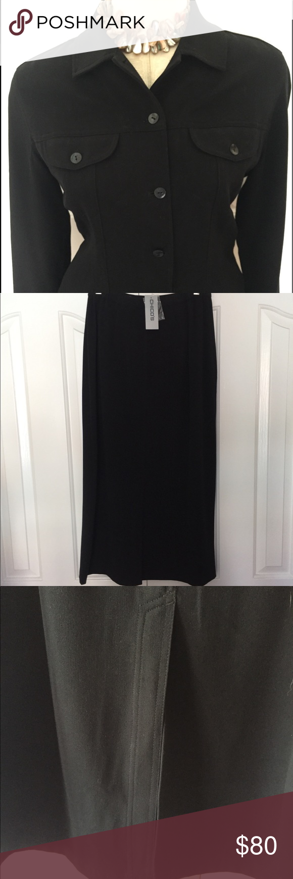 Chicous piece suit jacket and maxi skirt black maxi skirt black