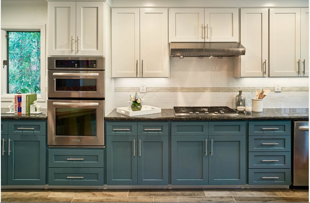 Paint By Sherwin Williams Refuge Sw 6228 Lower Cabinets And Ice Cube Sw 6252 Upper Cabinets Teal Kitchen Cabinets Kitchen Design Kitchen Renovation