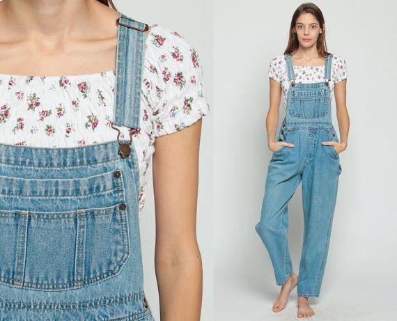 91bd202973 Jean Overalls Denim Overalls Pants Women 80s Denim GRUNGE Pants Mom Jeans  Baggy Dungarees Long Jean Pants 90s Vintage Faded Blue Medium