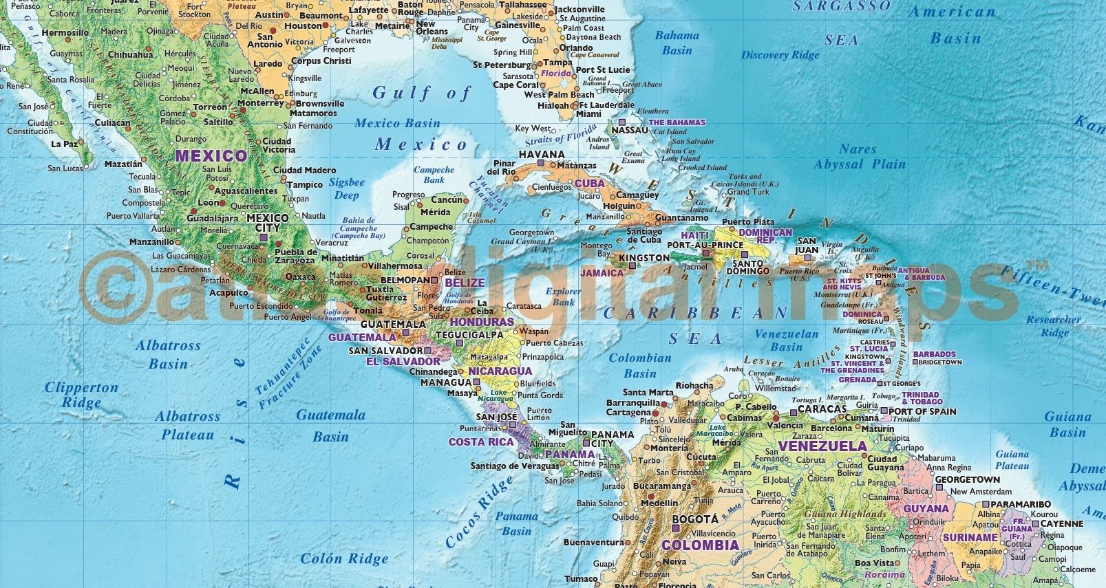 Bright political map of central america world maps political bright political map of central america gumiabroncs Choice Image
