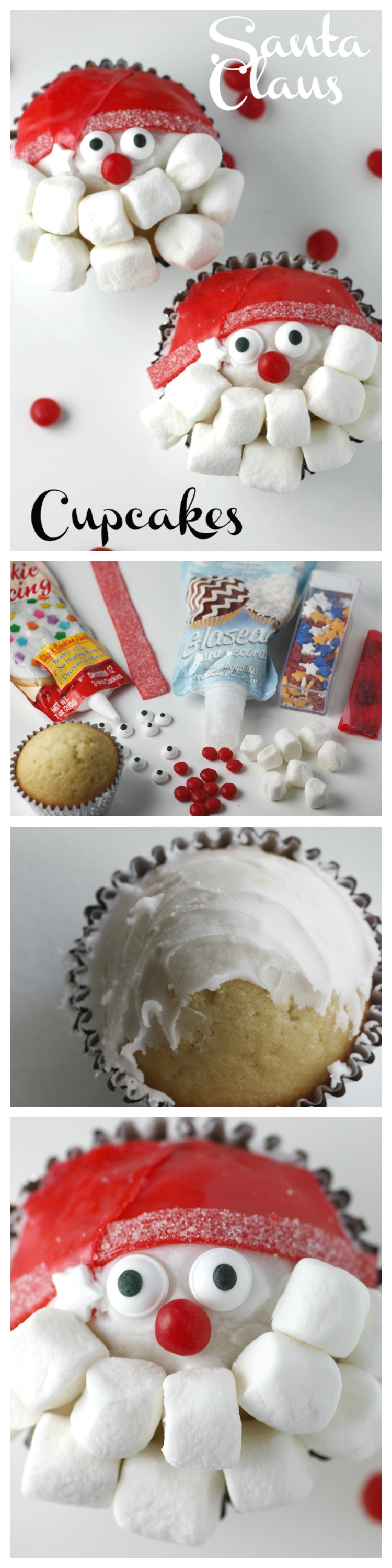 Learn to make these adorable Santa Claus cupcakes for your upcoming Christmas or holiday party! See more party ideas at CatchMyParty.com.