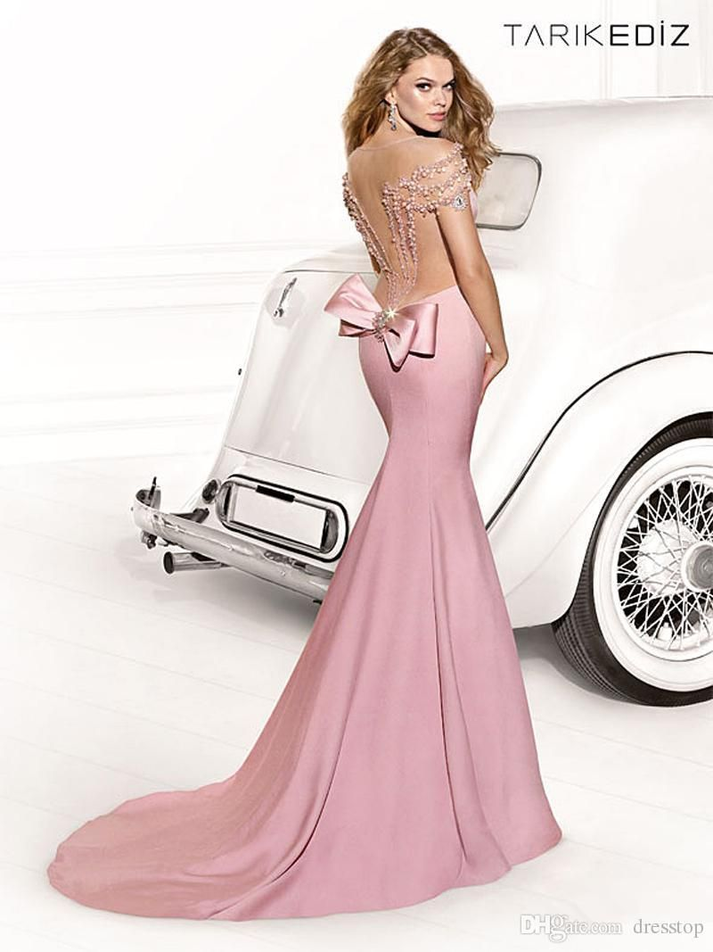 Top Selling Tarik Ediz Mermaid Pink Evening Dresses Sheer V Neck ...