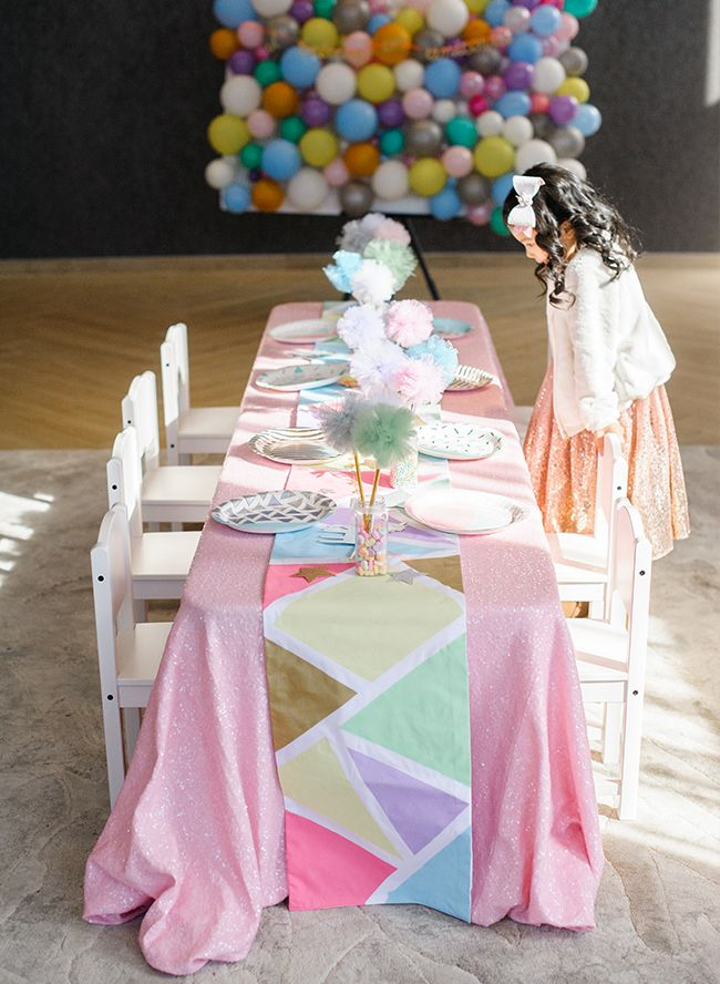 This Geometric Unicorn Birthday Party Is Totally Magical Confetti Bows Styled It To Be As Fun Can For 5 Year Old Kali In Pastel Purple And Pink