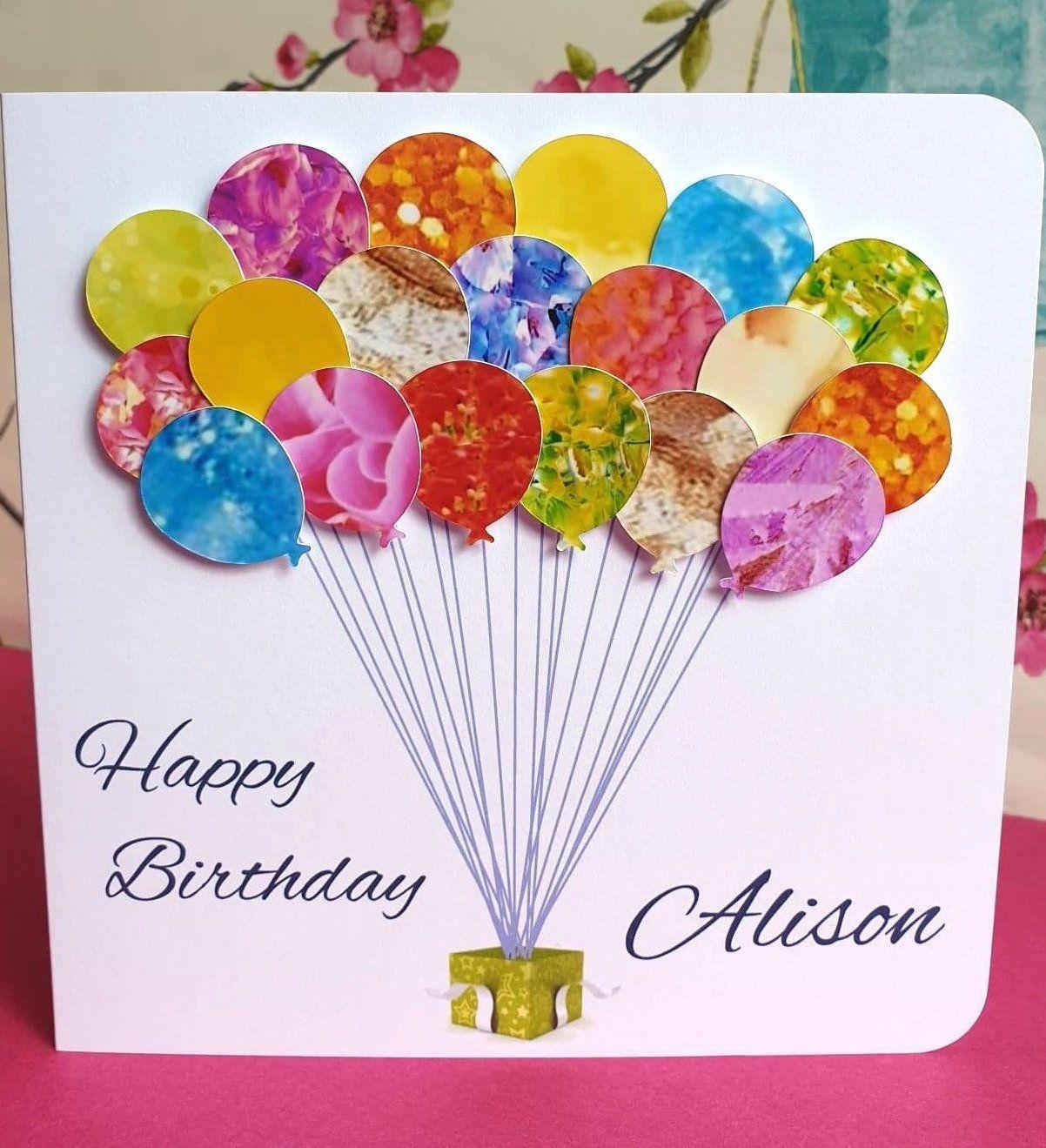 Personalised Birthday Card Handmade Custom Birthday Balloons Etsy Handmade Birthday Cards 90th Birthday Cards 60th Birthday Cards