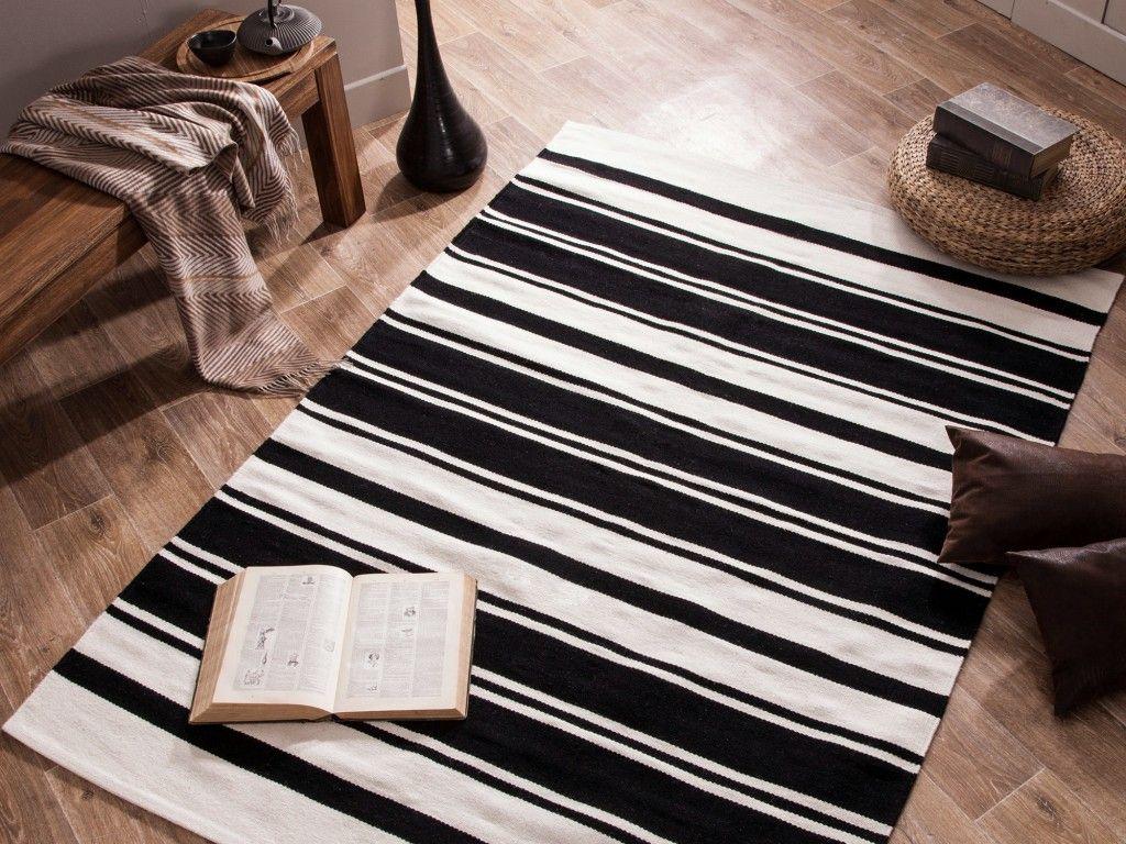 inspirant tapis rayé noir et blanc | Décoration française ...