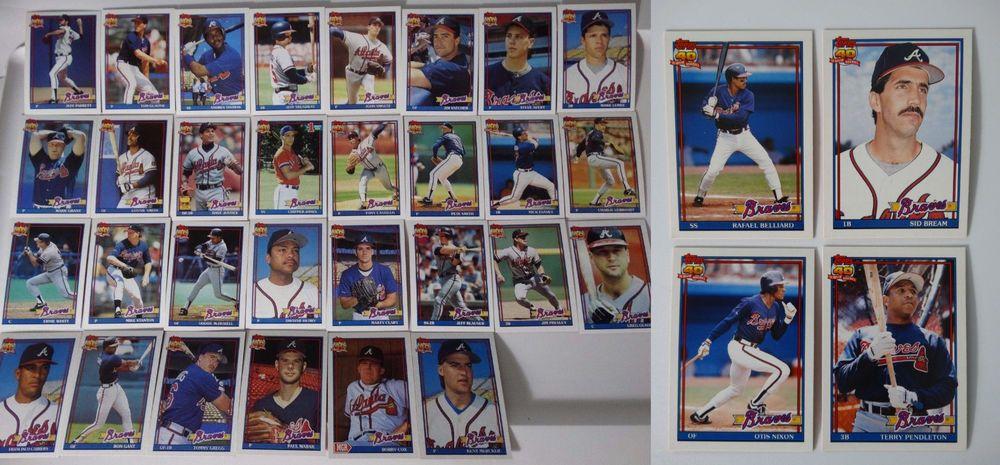 1991 topps atlanta braves team set of 34 baseball cards