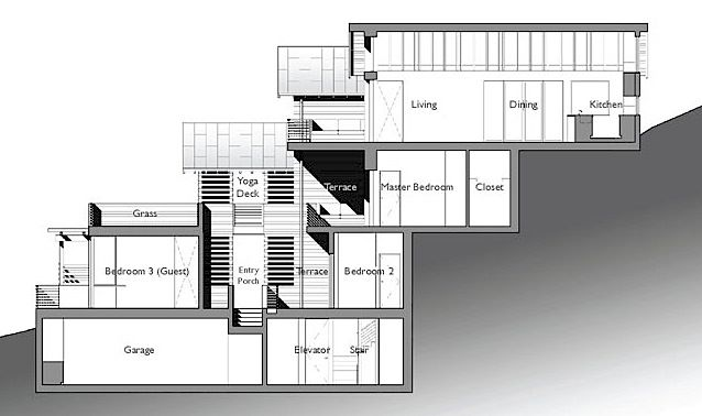 Example Split Level House Built On Steep Slope Click On Image For Further Details Floorplans Unique House Plans House Built Into Hillside Hillside House