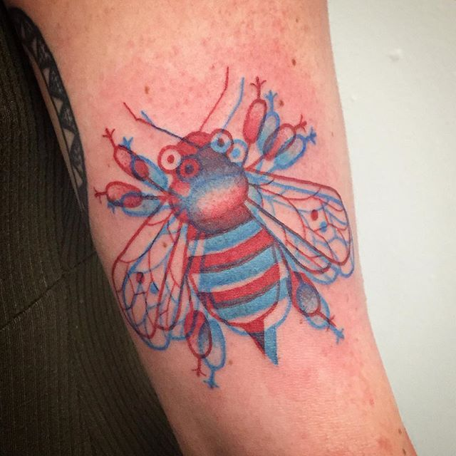 Cute Red And Blue 3d Tattoos By Winston The Whale Funpalstudio