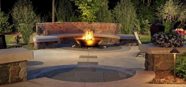feuerstelle-garten-gestaltung-ideen-schöne-feuerschale-edelstahl, Garten und erstellen
